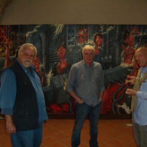 Pittore Stefano Cecchi con prof. Paolo Diara a destra e dott. Mario Allegranti a sinistra