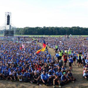 San Rossore, Pisa, 7 agosto 2014. Route Nazionale RS Agesci Cerimonia di apertura del campo.  foto: Staff fotografi SCOUT Camminiamo Insieme